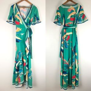 Flying tomato green wrap maxi dress floral 0692